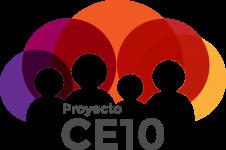 logo del proyecto c10: siluetas de 4 personas con circulos colores detras