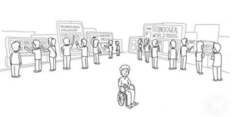 personas con acceso a infromacion de tecnologia y una persona con discapacidad en el medio sin acceso