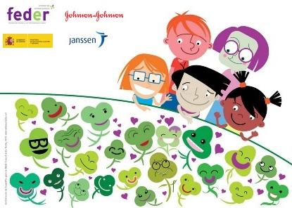 imagen del niños alrededor de una mesa llena de treboles de 3 hojas y un único trébol de 4 hojas ( ER)