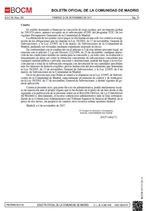 boletin oficial de la comunidad de madrid donde aparece la convocatoria para