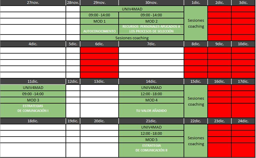 planning de horarios y módulos