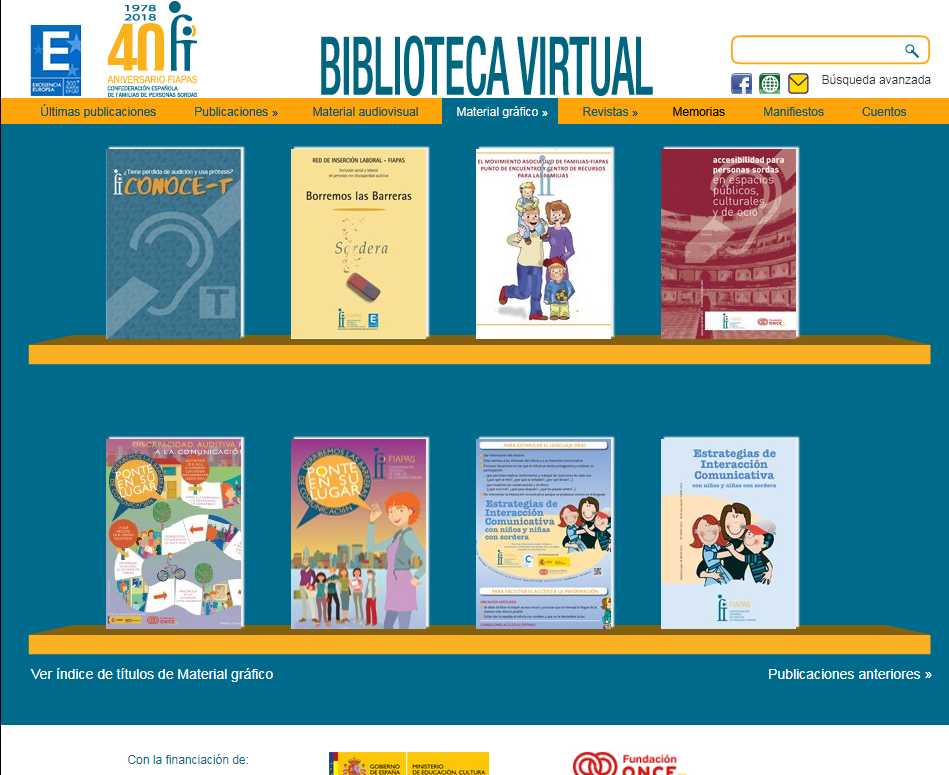 Pantallazo de la biblioteca virtual FIAPAS Material gráfico