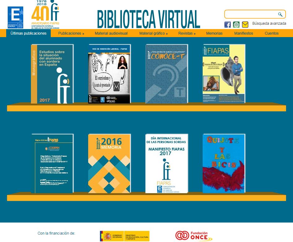 Pantallazo de la biblioteca virtual FIAPAS ultimas publicaciones