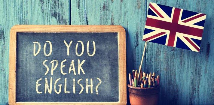 cartel de las ayudas al estudio al inglés donde aparece una pizarra donde pone do you seak english y nadeera america al aldo