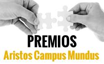 cartel de los premios Aristos Campus Mundus: MANOS CON PIEZAS DE PUZZLE QUE ECAJAN