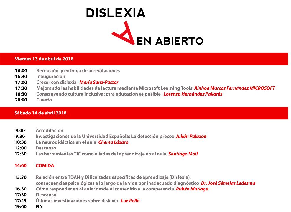 Programa jornada Dislexia en Abierto