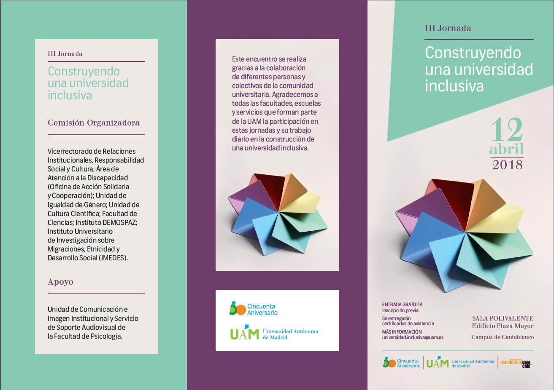 """Cartel Informativo de la III Jornada """"Construyendo una universidad inclusiva"""""""