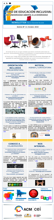 imagen de la newsletter nº 11 de octubre del Foro de Educación Inclusiva