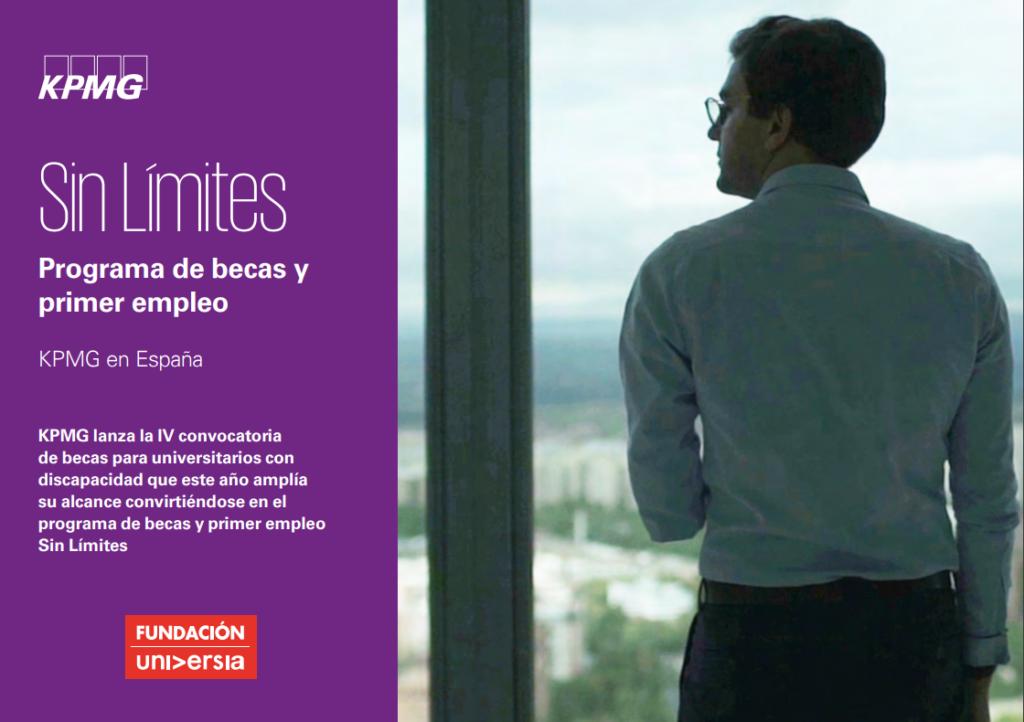 Programa de becas de KPMG para estudiantes y recién graduados. Cartel con un hombre mirando por una ventana